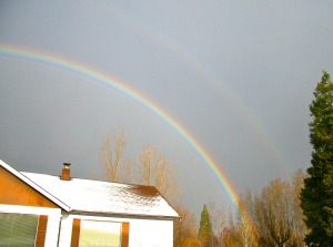 mount shasta christmas double rainbow